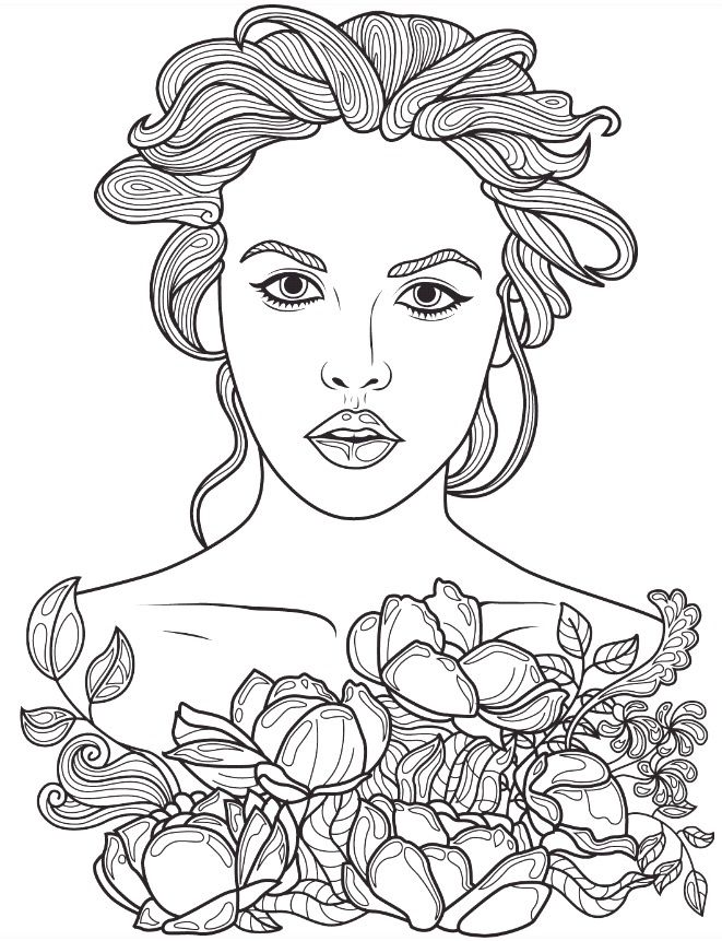 Beautiful Faces Coloring Page Colorish App Free Coloring App