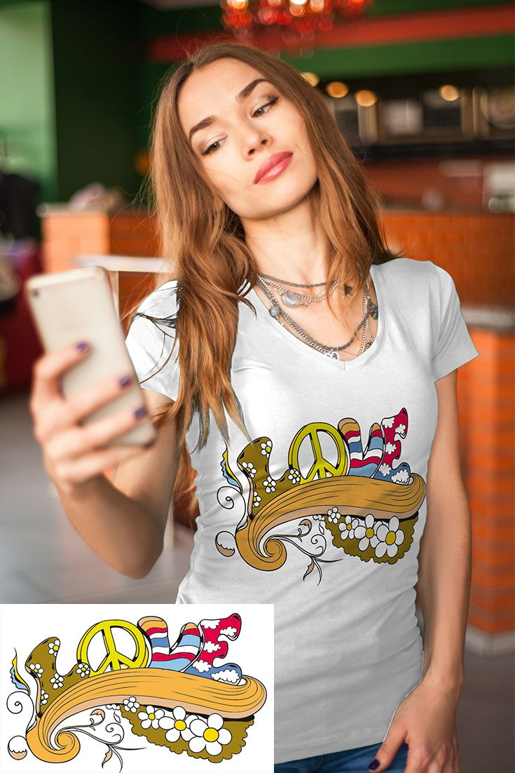 Coole Frauen Süßes Damen Designer T Shirt Love And Peace Flower Power