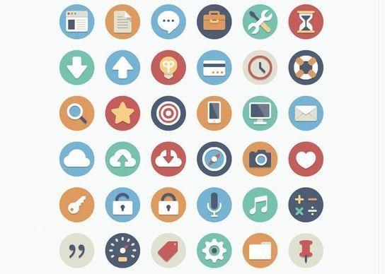 90 circle icons, bonita colección de iconos planos con forma circular