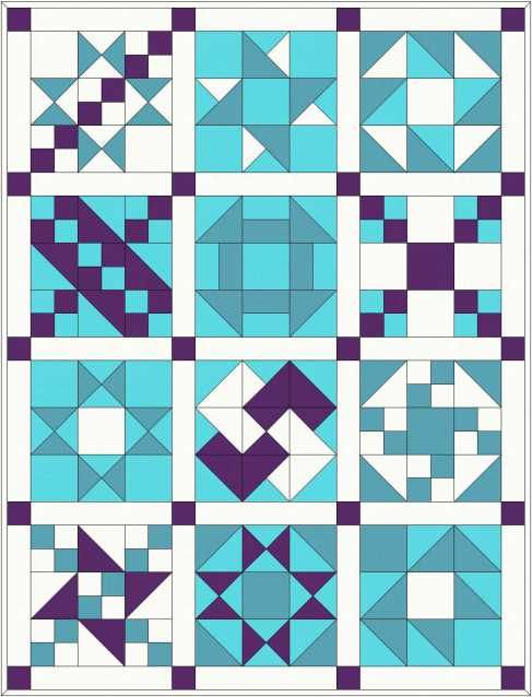 Sampler quilt, full instructions and fabric requirements etc.
