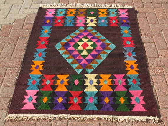 Turkish Kilim Rug Natural Wool 54.7 x 39.3 by decorpillow on Etsy, $129.00
