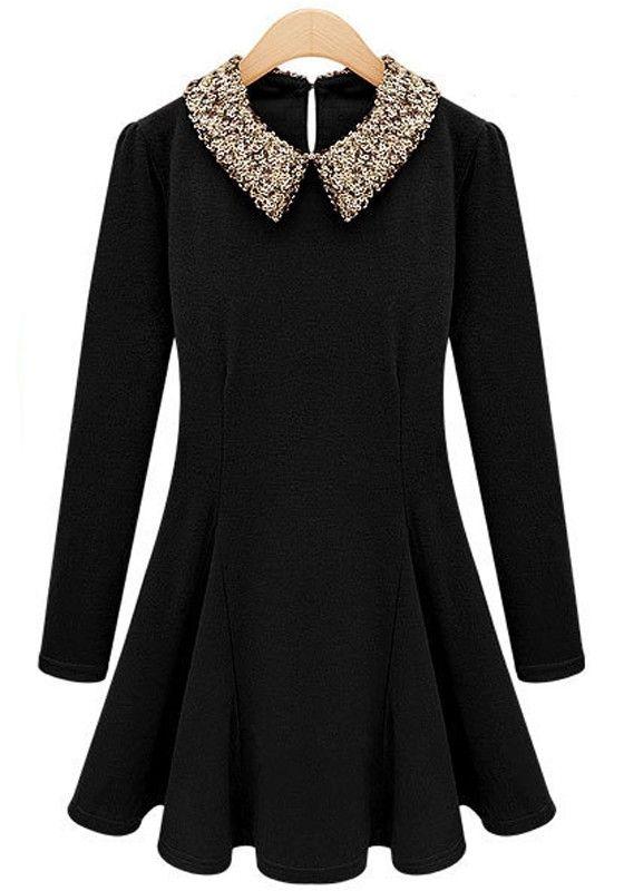 Super Cute Black Plain Sequin Long Sleeve Cashmere Dress