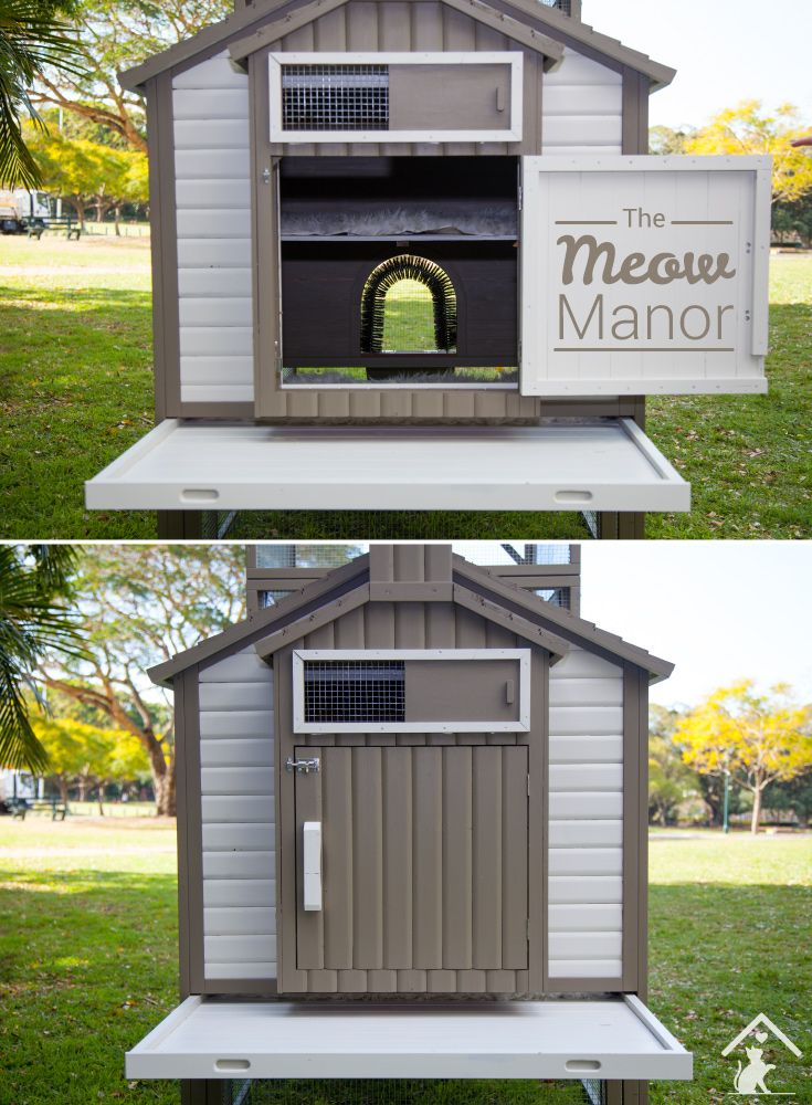 The fur-bulous outdoor cat enclosure that will let your cats enjoy the outdoors safely! Click the image to find out more. #meowmanor #outdoorcatenclosures #backyardcatenclosures