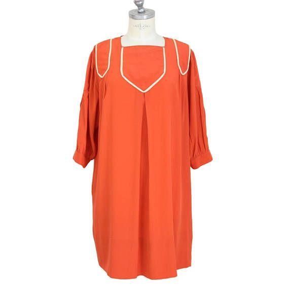 Laura Biagiotti vintage dress silk tunic orange size 42 sleeve
