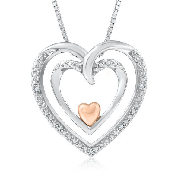 I Am Loved® Diamond Heart-Shaped Pendant in Sterling Silver & 14K Gold