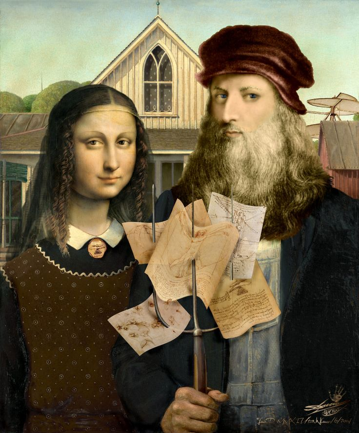 GIOCONDA & LEONARDO immigrants in American Gothic / visual metaphors
