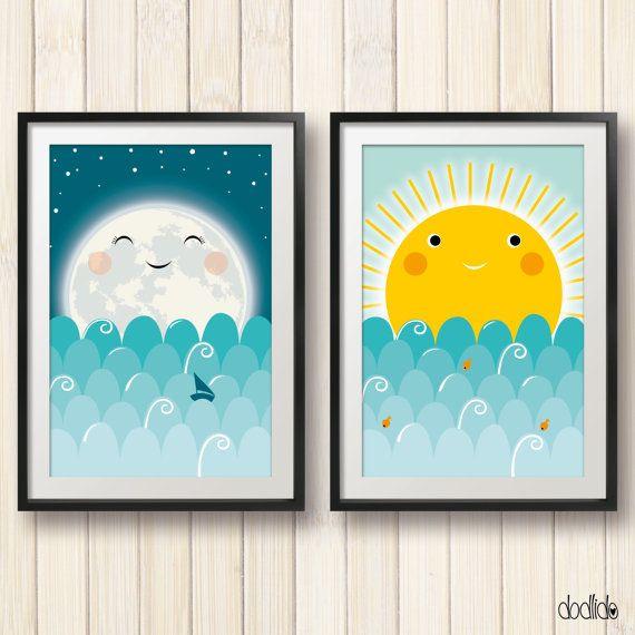 Kids poster set, sun and moon poster, digital file, instant download, kids room…