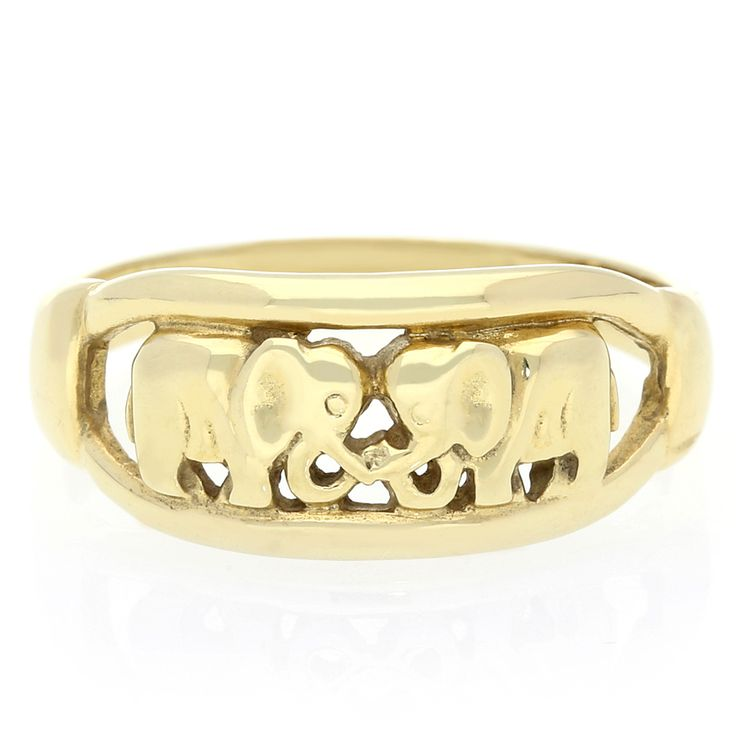 14K Yellow Gold Elephant Ring    www.uwekoetter.com