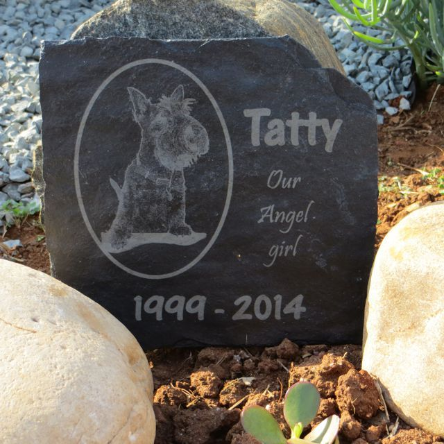 Slate Memorial Tile with laser engraved photograph.