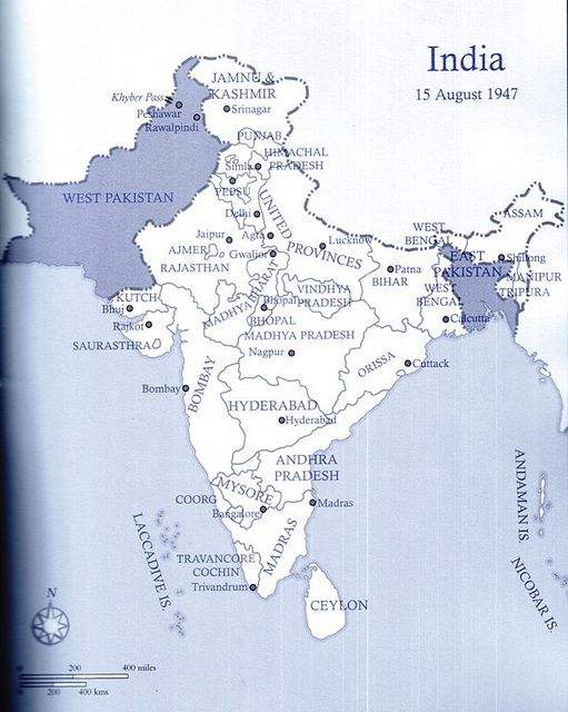 The map of India on 15 August 1947 - after the Radcliffe Award was announced by Doc Kazi #pakistan