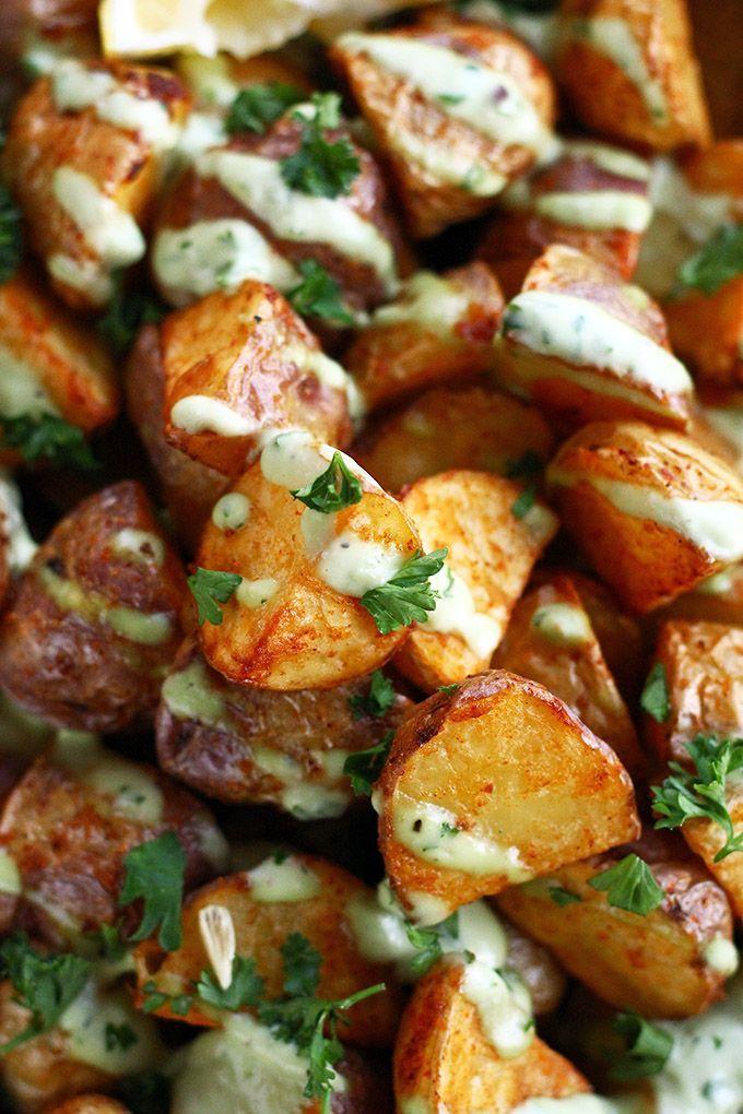 Crispy Creamer Potatoes with Garlic Lemon Avocado Aioli ft. The @The Little Potato Company's NEW Chilean Splash Creamer potatoes - ilovevegan.com