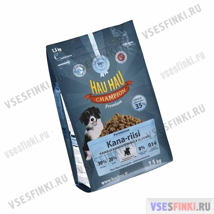 Корм Hau-Hau для молодых собак (Курица и рис) 1,5 кг