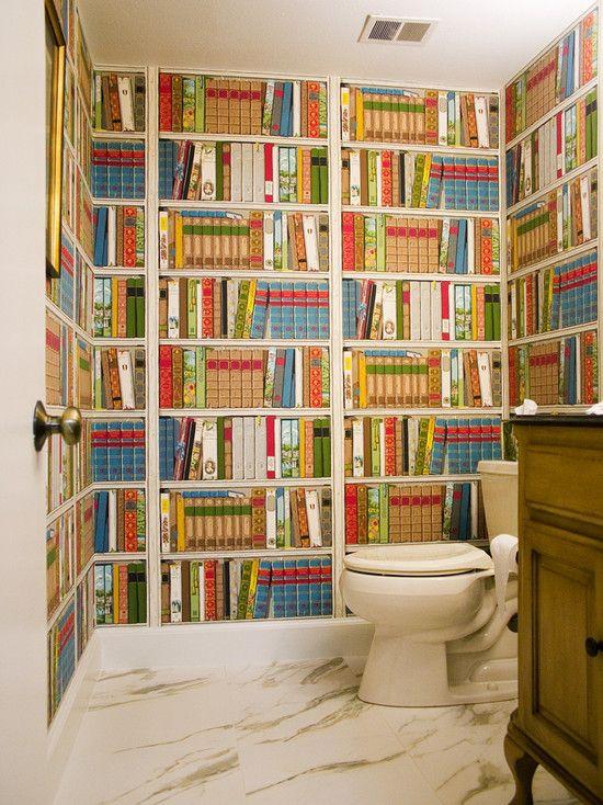 Bathroom Libraries Design Book WallpaperBathroom WallpaperQuirky WallpaperPowder Room WallpaperInterior