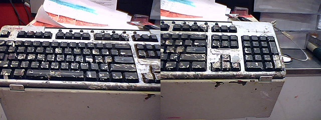 This keyboard has seen better days! In the Home Depot paint section, it is one used to... do painty computery stuff... with. It's times like this that I wish I didn't know what bukkake meant.    keyboard, paint.  cameraphone.    Home Depot, business, AlexDepot Painting, Business Mindfulness, Depot Diptych, Painty Computeri, Money, 2007Ish, Painting Keyboard, Home Depot