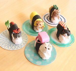 Cat Sushi Neko Zushi Nya-ta Display figure set in Original Paper Box Japan