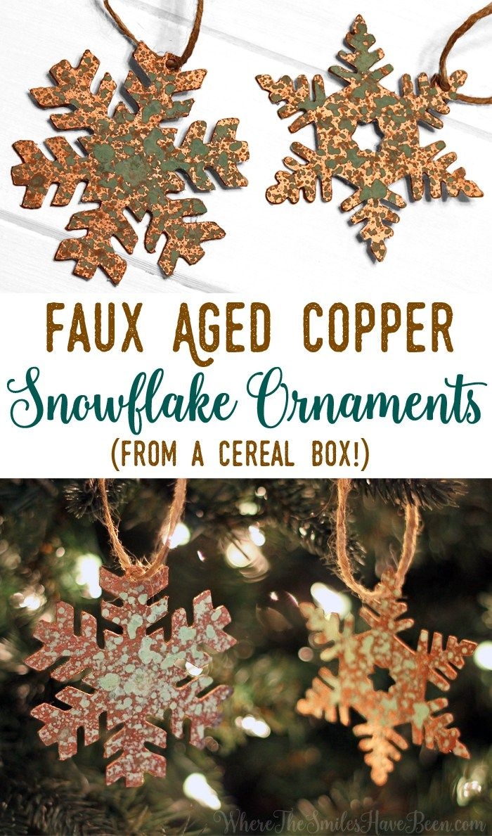 This is so cool!  Cut up a cereal box, add some paint and patina spray, and BOOM!  Instant faux aged copper!  DIY Faux Aged Copper Snowflake Ornaments from a Cereal Box! | Where The Smiles Have Been