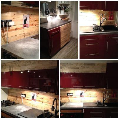 Cr dence cuisine en palette avec placards et tiroir - Tiroir coulissant pour cuisine ...