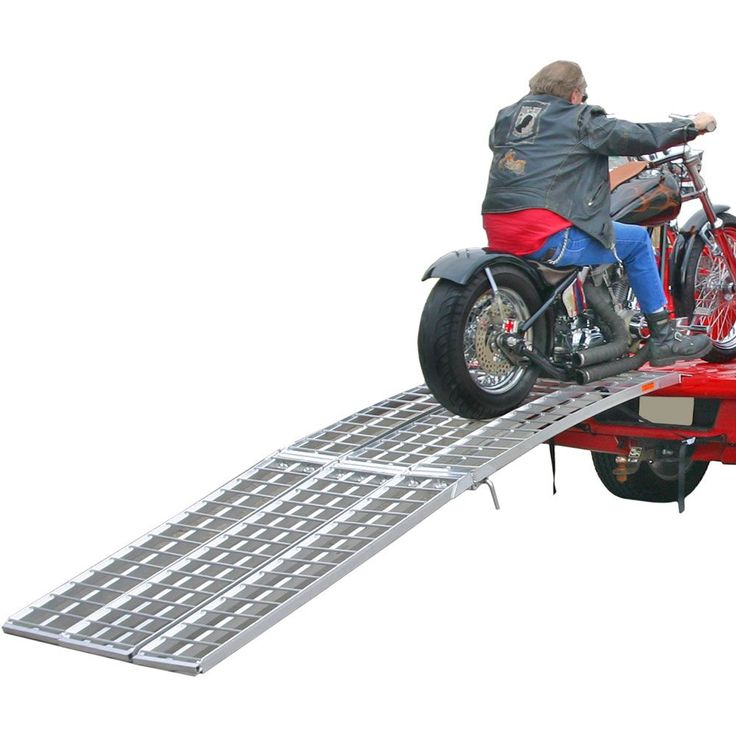 The Black Widow motorcycle ramp system has a huge 1500 lb weight capacity for accommodating almost any bike! Folds in half for storage!