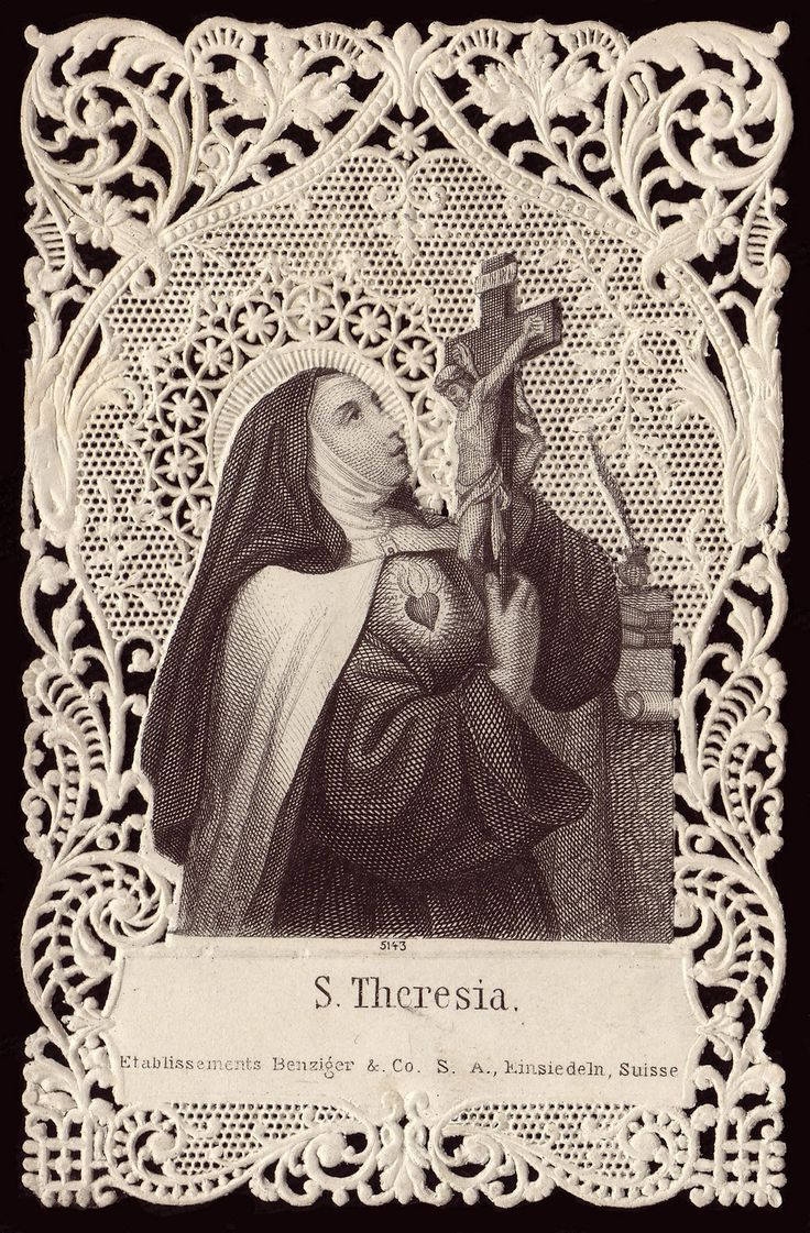 Beautiful vintage prayer card of St. Teresa of Avila, Carmelite mystic, Reformer, Writer