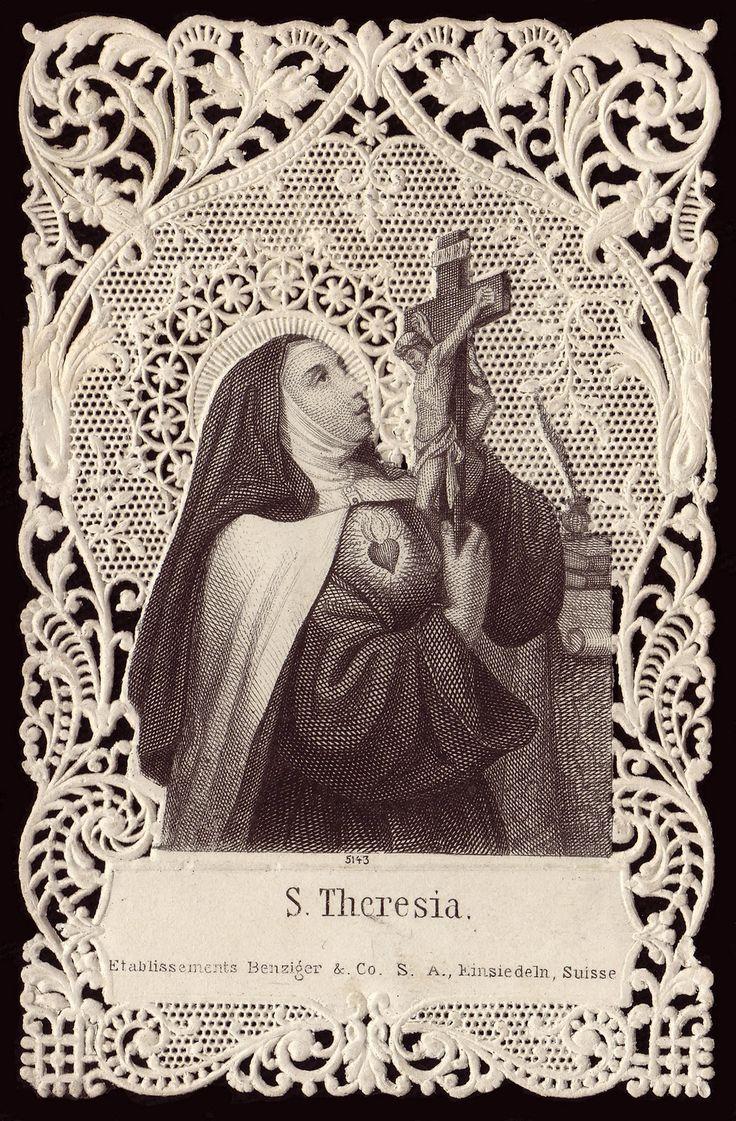 Beautiful vintage prayer card of St. Teresa of Avila, Carmelite mystic, Reformer, Writer