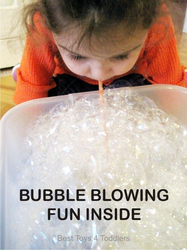 B is for Bubble Blowing Fun Inside Tuff Spot A-Z Challenge playing with bubbles in a sensory bin