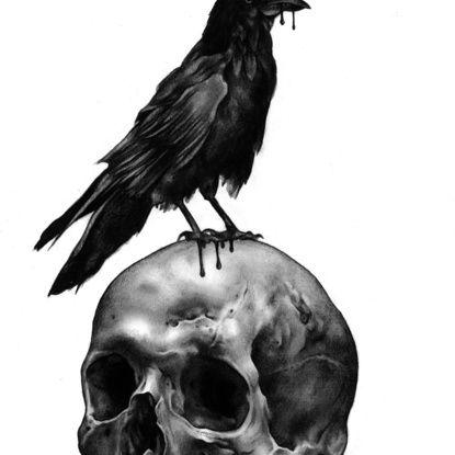 Skull & Raven Art Print by Leonmorley | Society6