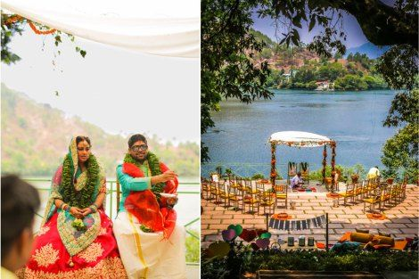 Seating layout ideas for Indian wedding ceremony| A lakeside mandap for an Indian destination wedding | Yellow round tables with marigold centrepieces | Lakeside wedding - outdoor Indian wedding decor ideas | Signages with couple caricatures - ideas for Indian wedding details | A woodland theme forest destination wedding in the Hills | Bengali wedding by the lakeside | Traditional Bengali wedding ceremony at a destination | The beautiful green and marigold mandap by the lakeside