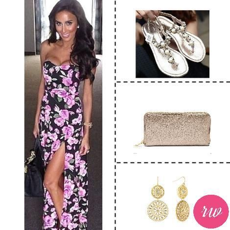 Cute Weekend Outfits - Floral Dress with Gold Accessories. www.rosyweekend.com