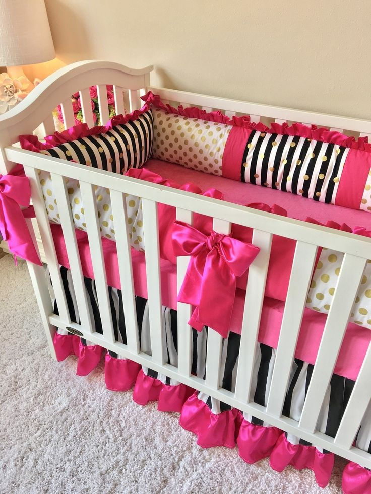 Baby Bedding - Black and White Stripe, Gold Dot, and Hot Pink