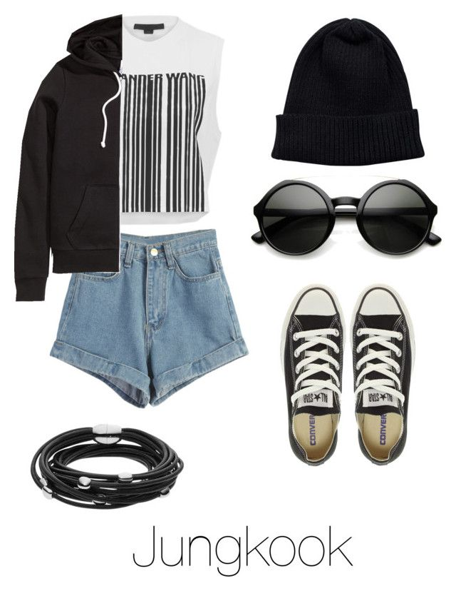 """""""Concert with Jungkook"""" by bts-outfit-imagines on Polyvore featuring WithChic, Alexander Wang, H&M, NLY Accessories, Skagen and Converse"""