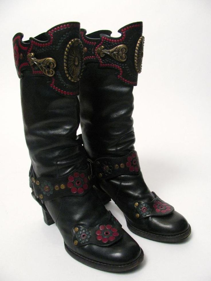 ANNA SUI ITALY LADIES BLACK LEATHER HARNESS COWBOY WESTERN BOOTS SHOES~37.5/7 #ANNASUI #FashionKneeHigh