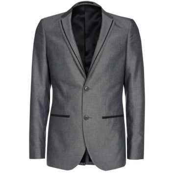 Silver-Grey Piped Double Button Tailored Jacket