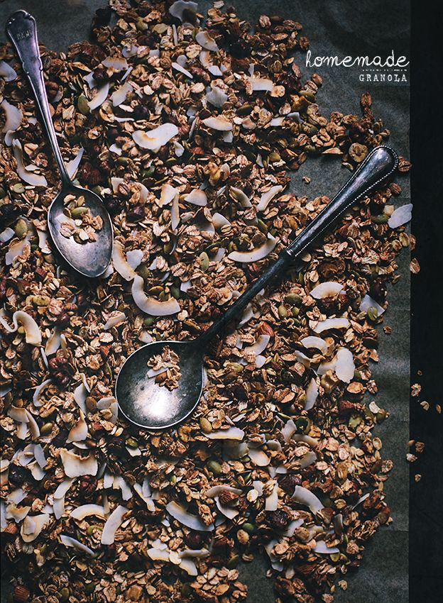 Homemade granola with cinnamon and maple syrup.