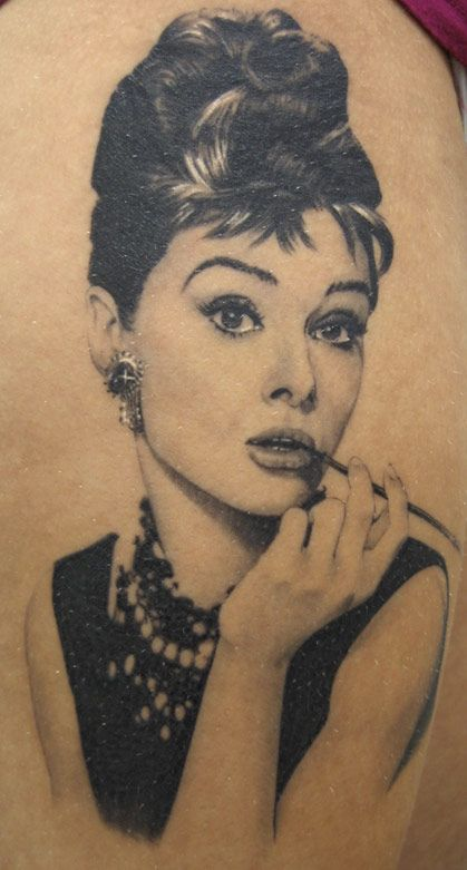 Audrey Hepburn Pin Up Tattoo - Xavier Garcia Boix http://pinupgirlstattoos.com/audrey-hepburn-pin-up-tattoo/