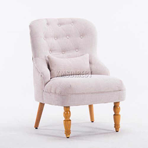 FoxHunter Linen Fabric Tub Chair Armchair Dining Living Room Lounge Office  Modern Furniture Cream TC06 New