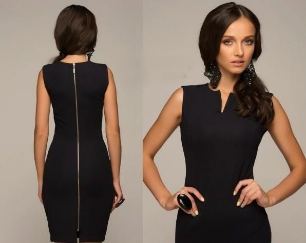 Черное платье футляр на молнии
