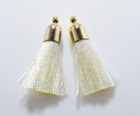 Ivory Bell Shaped Cotton Tassel (Small) Pendant, Jewelry Craft Supply, Polished Gold - 2pcs / RG0040-PGIV