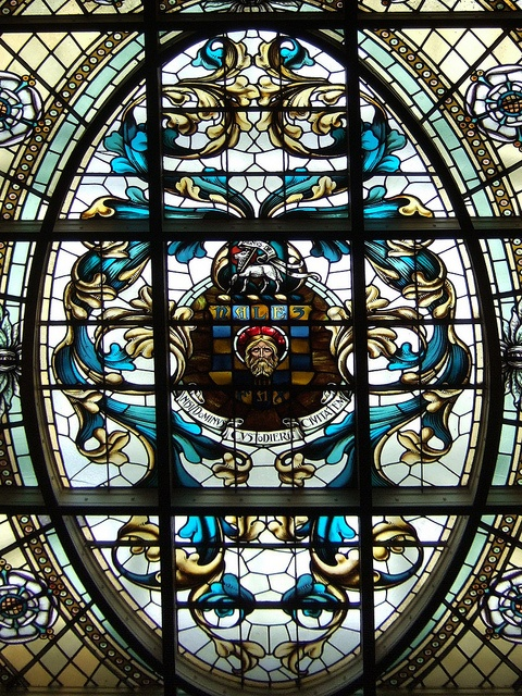 Halifax Town Hall  Beautiful glass ceiling in Halifax Town Hall, West Yorkshire  nisi dominus custodierit civitatem: Except the Lord Keep the City is the town's motto