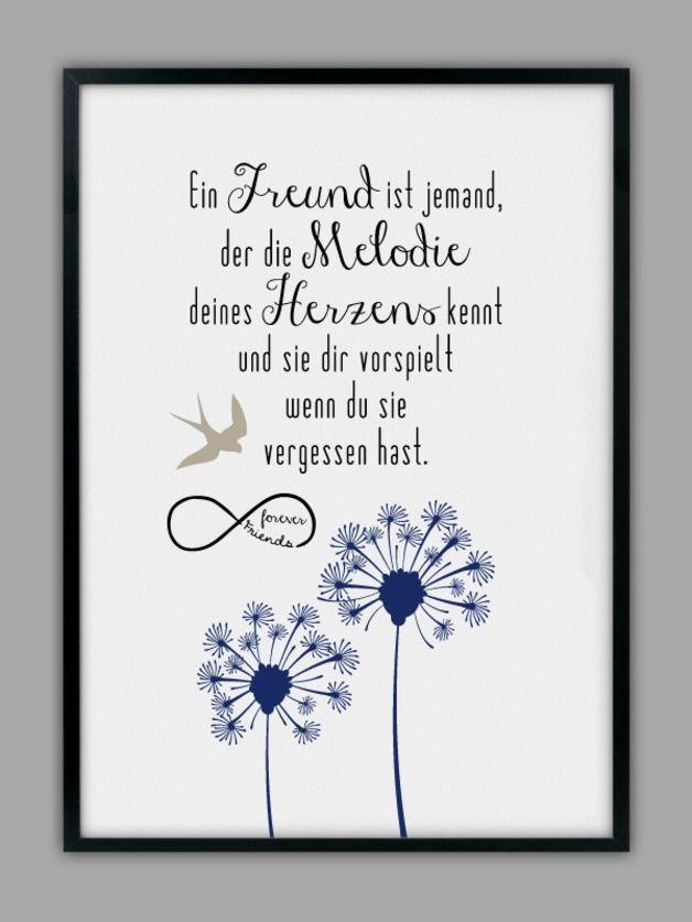 """Originaldruck - """"EIN FREUND"""" Kunstdruck für z.B die beste Freundin - ein Designerstück von Smart-Art-Kunstdrucke bei DaWanda"""