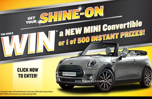 You'll be cruising in style this summer with Armor All! Get your shine on and you could WIN a Mini Convertible or 1 of 500 Instant Win Prizes! Instant Win