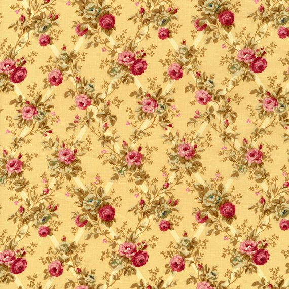 Rose Hill Lane by Robyn Pandolph for RJR Cotton Fabric 1862-3 Rose Lattice on Maize