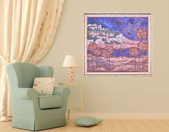 Fine art print print of original painting blue by MarilionFineArt