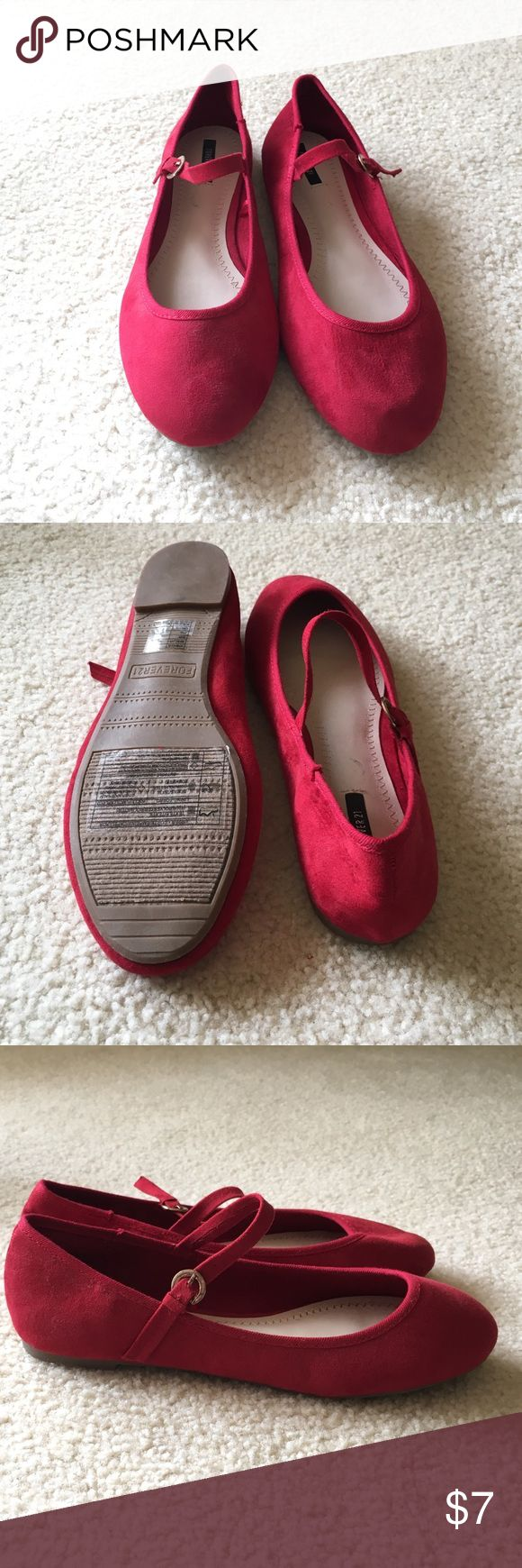 Red Mary-Jane faux suede ballet flats. Never worn! Super cute cherry red flats! Forever 21 Shoes Flats & Loafers