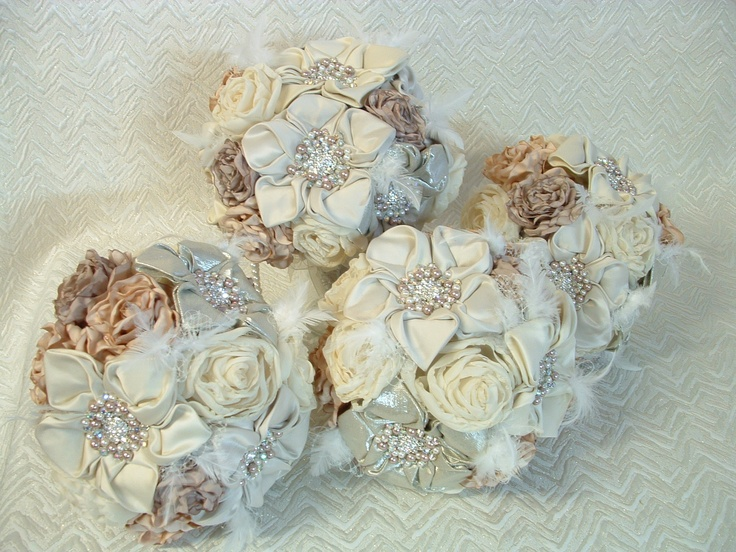 Custom made vintage style 4 piece bridal bouquet set.