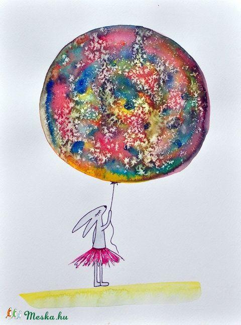 Nyuszó színes lufija, Képzőművészet , Baba-mama-gyerek, Illusztráció, Gyerekszoba, Festészet, Meska