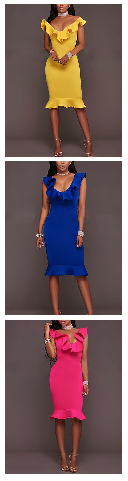 Any occasion elegant round neck ruffle knee length dress for work/ special event or night out. Get it in yellow, blue and pink colors at €14.10