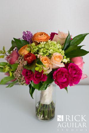 #FabFloraChicago  Rick Aguilar Studio, May Wedding, Spring Wedding, Bold Colors, Bridal Bouquet, Peonies, Roses, Hydrangea, Wedding Flowers, Chicago Florist.