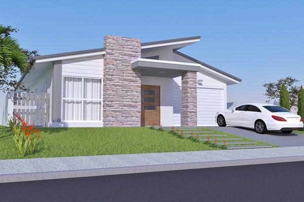 Casa térrea com fachada de pedra - Planta Pronta