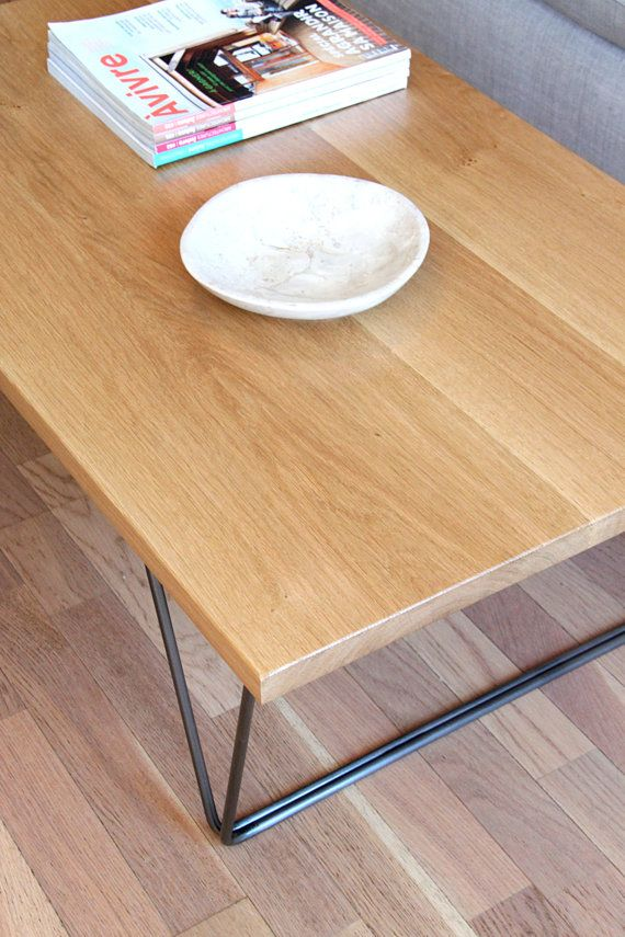 Table low solid oak base steel rods by TreeZigner on Etsy