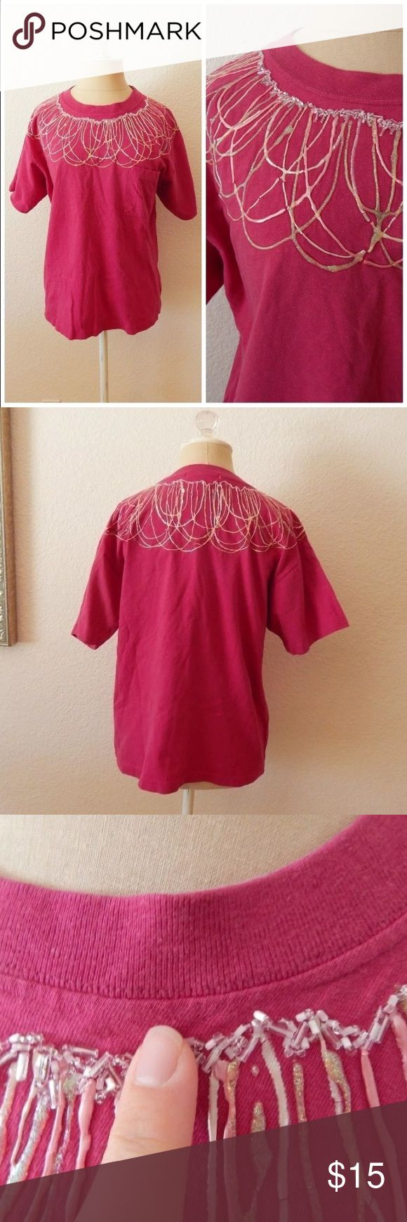 """Vintage 80s Puff Paint Glitter T Shirt Top Vintage 80s Pink Puff Paint Womens Glitter Hipster Ugly T Shirt Short Sleeve Fall Tops  By Clovelly 100% Cotton Made in Guatemala Machine Wash Dry Flat 1 Chest Pocket Please See Cracking in Paint Tag Size Large - shown on Small ( will for small baggy, medium slightly baggy , and large fitted)  Bust circumference: 40"""" (101.6 cm) Length: 24"""" (60.96 cm) Vintage Tops Tees - Short Sleeve"""